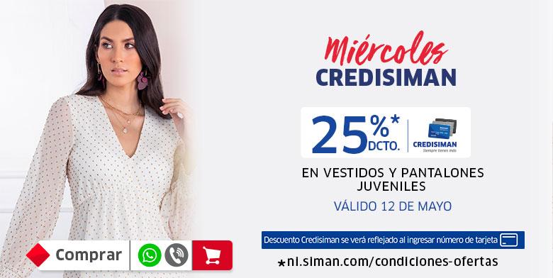 25% Descuento en vestidos y pantalones juveniles damas con Credisiman