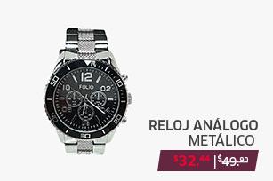 Reloj análogo metálico combinado para dama