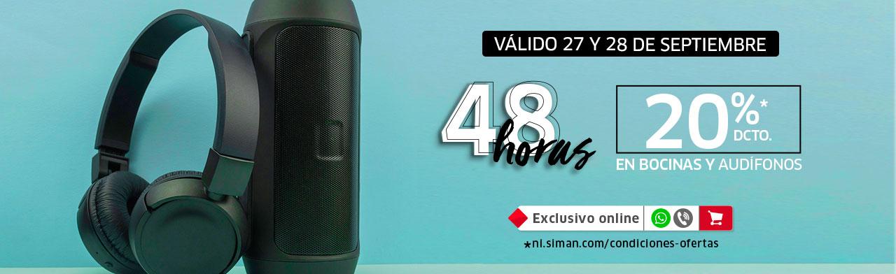 48 HORAS 20% EN AUDIO, BOCINAS Y AUDÍFONOS